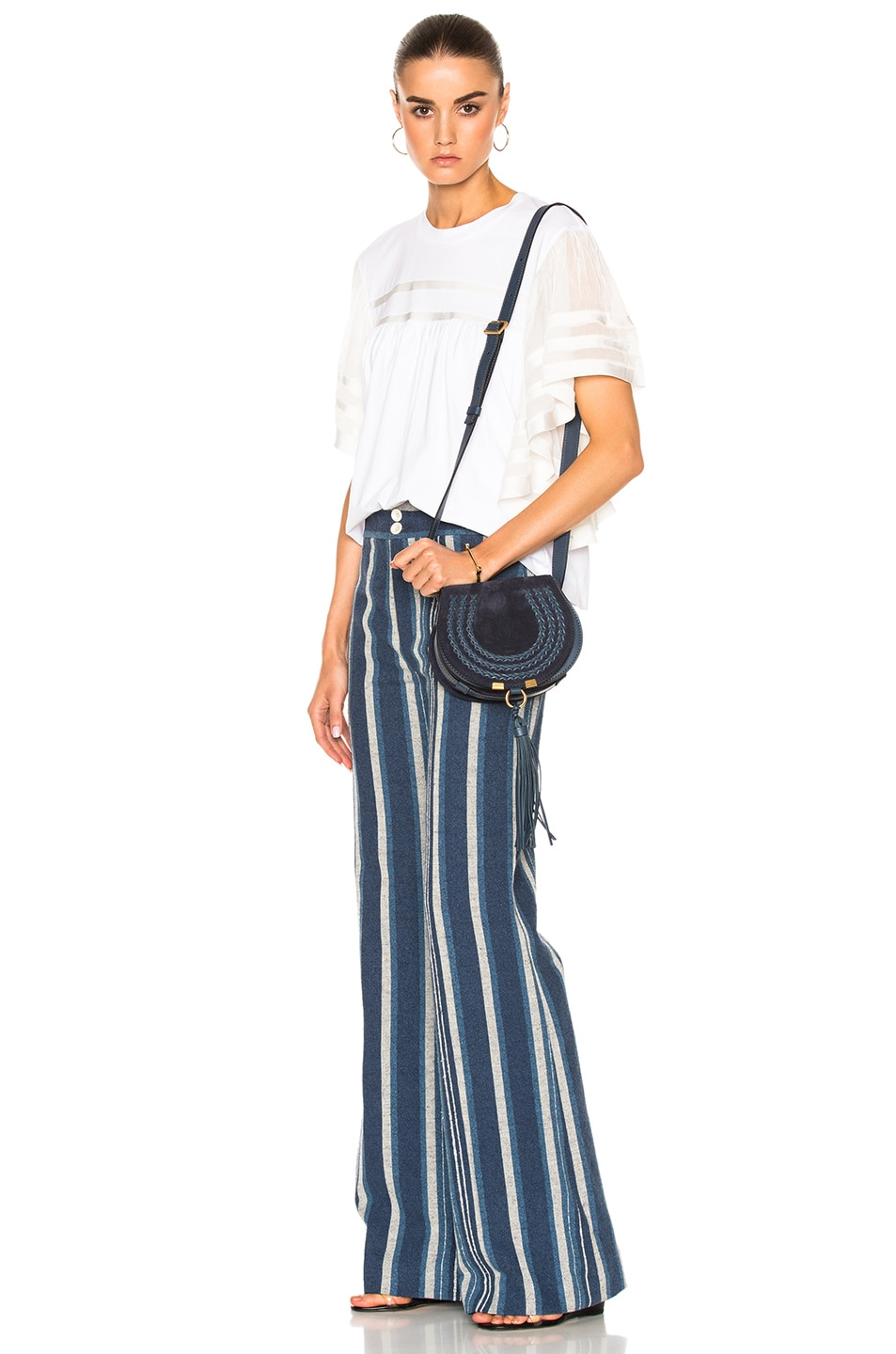 Image 6 of Chloe Small Marcie Suede & Leather Satchel in Navy