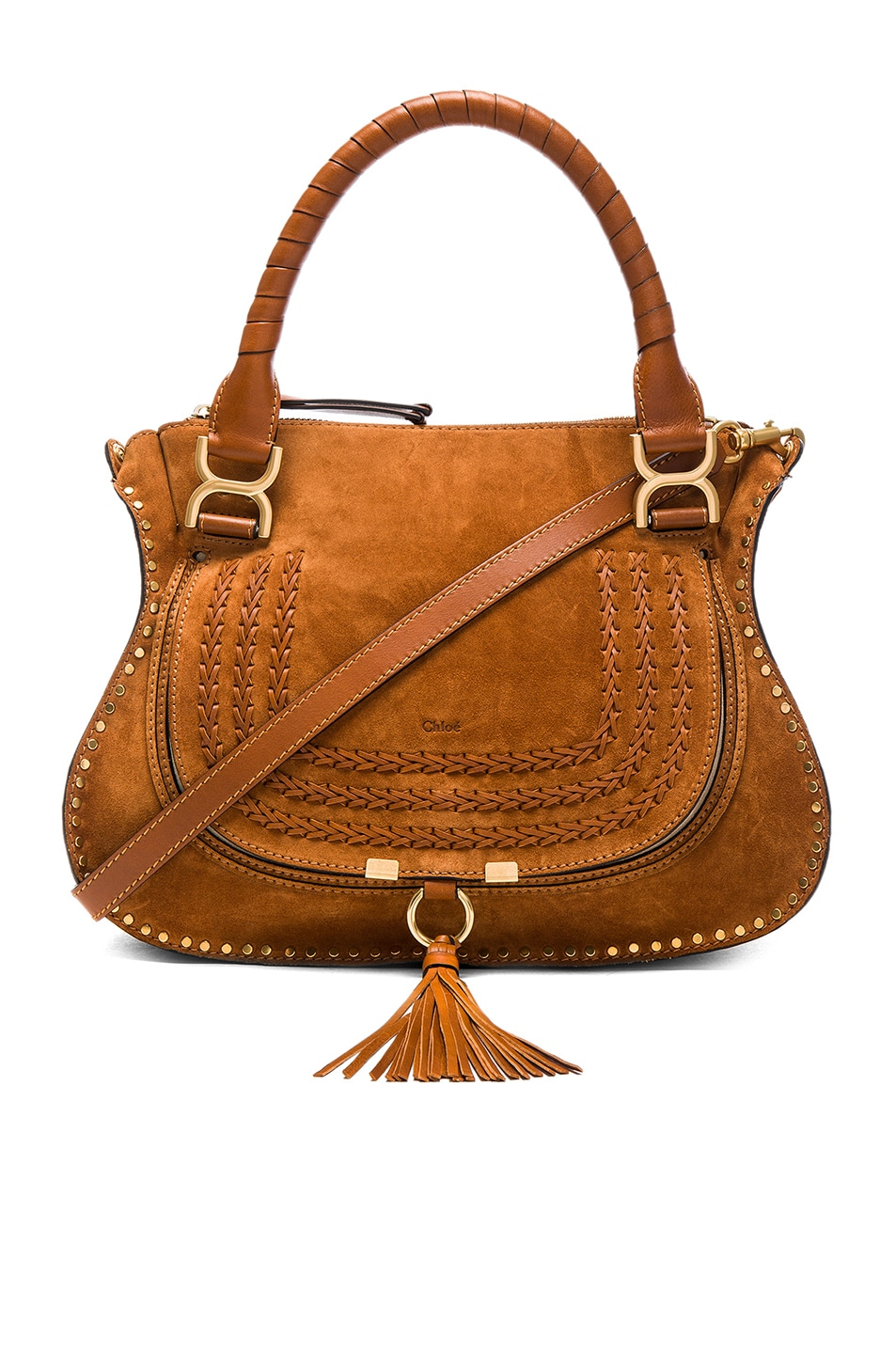 Image 1 of Chloe Small Marcie Suede & Calfskin Satchel in Caramel