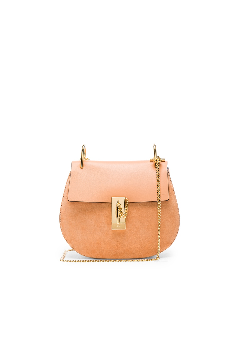 Image 1 of Chloe Small Suede & Calfskin Drew Shoulder Bag in Blushy Pink