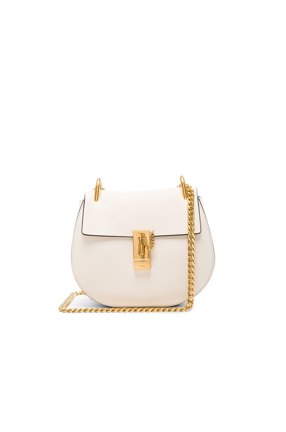 Image 1 of Chloe Small Drew Leather Large Chain Shoulder Bag in Off White