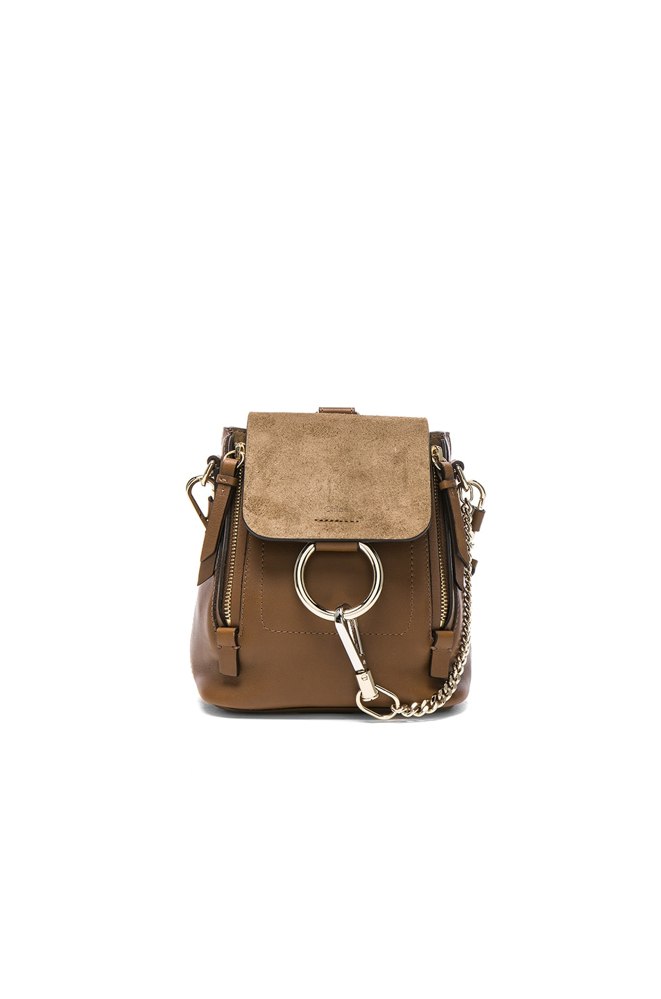 Image 1 of Chloe Mini Faye Suede & Calfskin Backpack in Woody Khaki