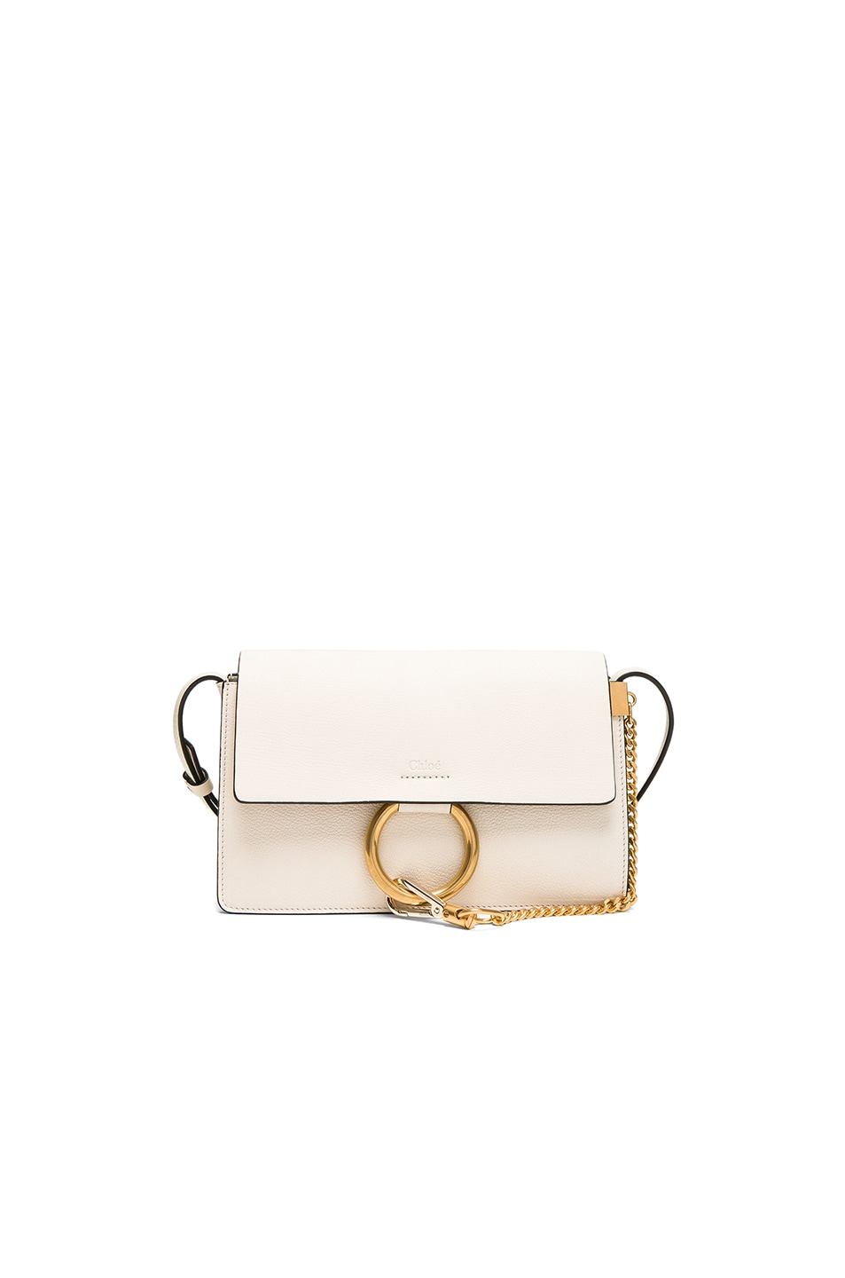 Image 1 of Chloe Small Leather Faye Bag in Off White