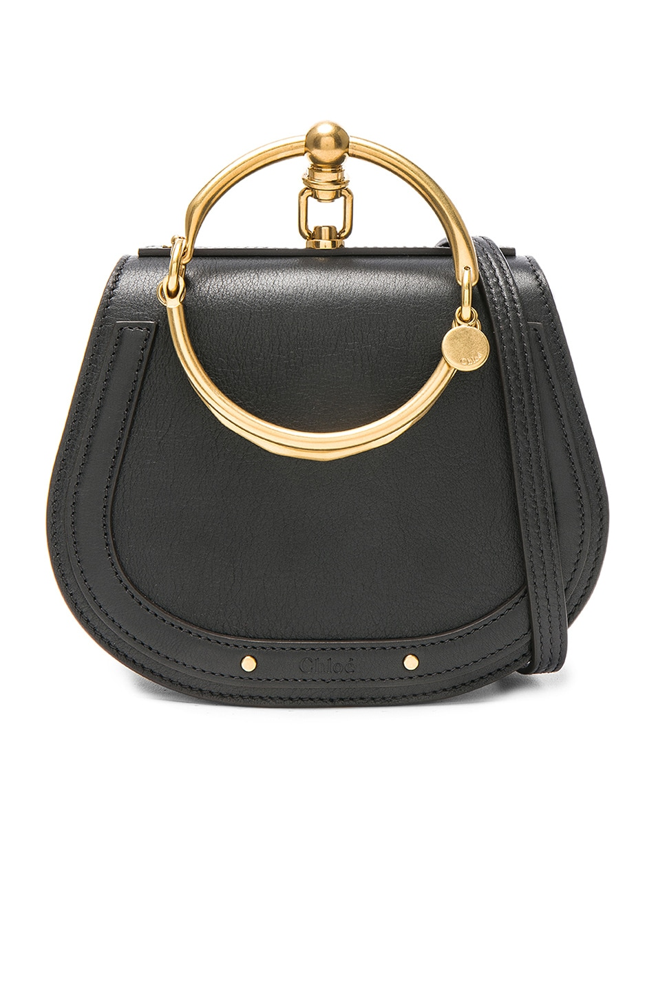 Image 1 of Chloe Small Nile Calfskin & Suede Bracelet Bag in Black