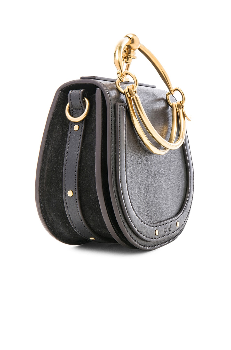 Image 4 of Chloe Small Nile Calfskin & Suede Bracelet Bag in Black