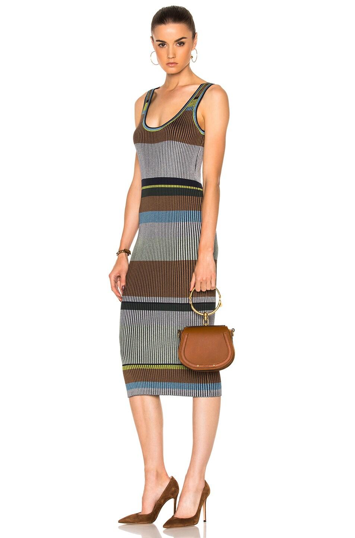 Image 2 of Chloe Small Nile Calfskin & Suede Bracelet Bag in Caramel