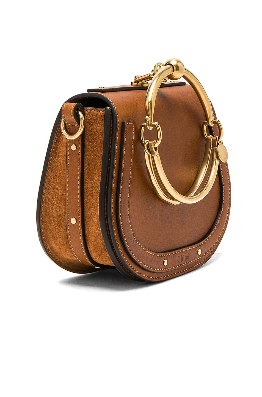 Image 4 of Chloe Small Nile Calfskin & Suede Bracelet Bag in Caramel