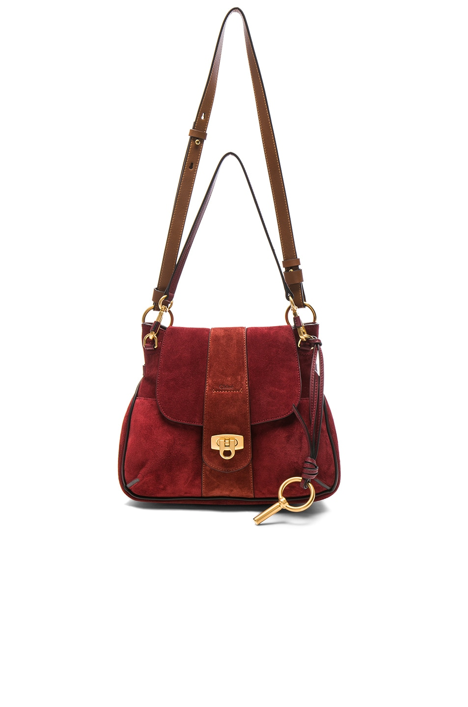 Image 5 Of Chloe Small Lexa Suede Shoulder Bag In Sienna Red