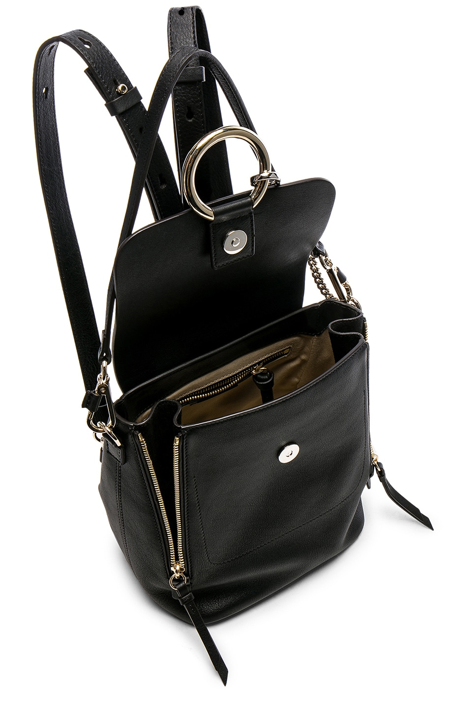 Image 5 of Chloe Small Faye Backpack Suede & Calfskin in Black