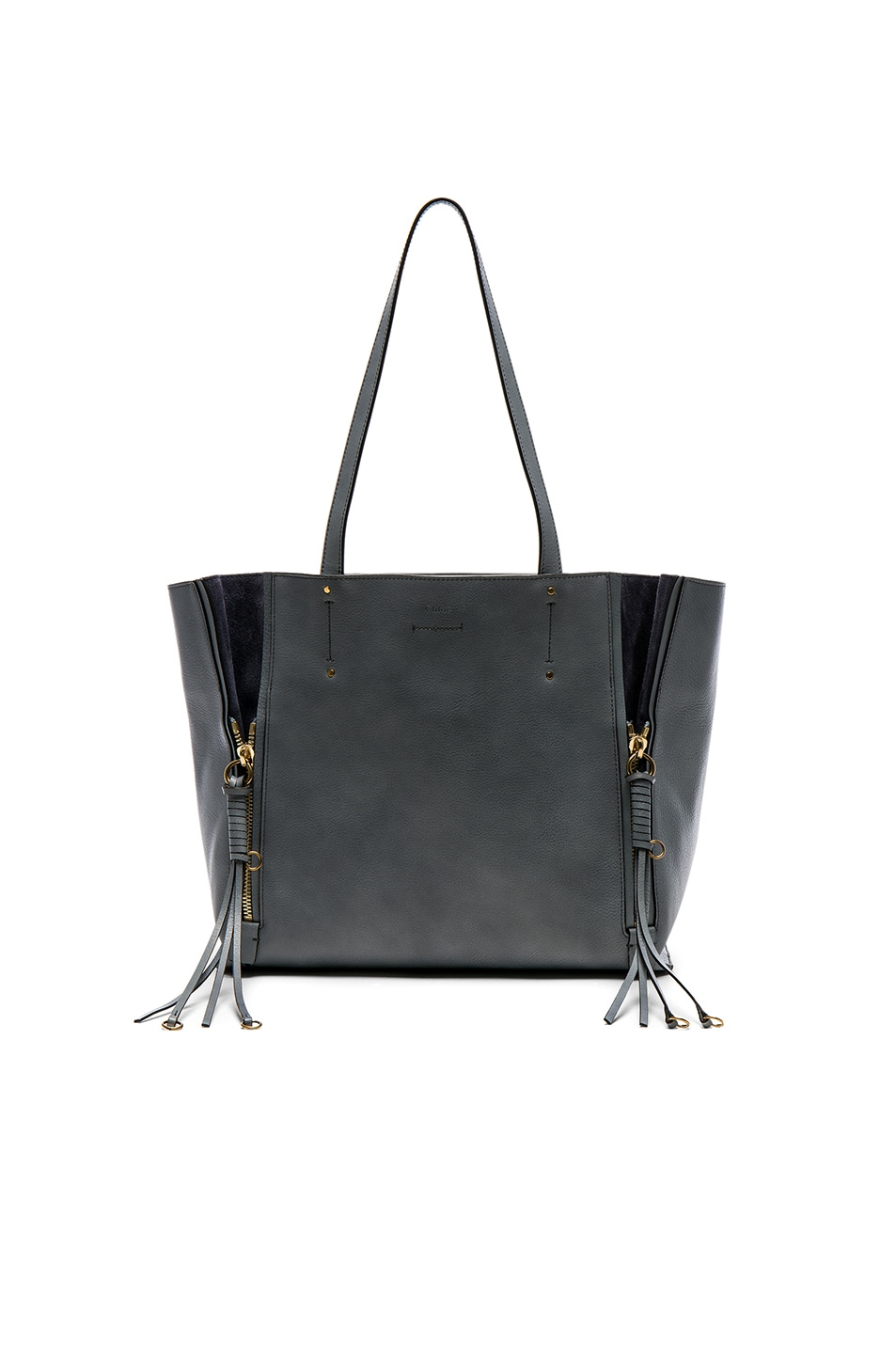 Image 1 of Chloe Medium Milo Leather & Suede Tote in Cloudy Blue