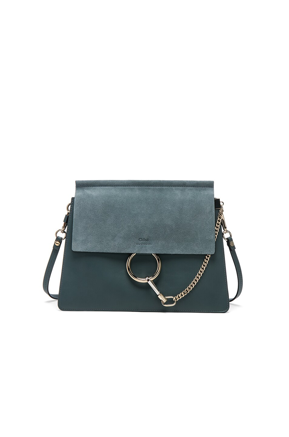 Image 1 of Chloe Medium Faye Suede & Calfskin Bag in Cloudy Blue