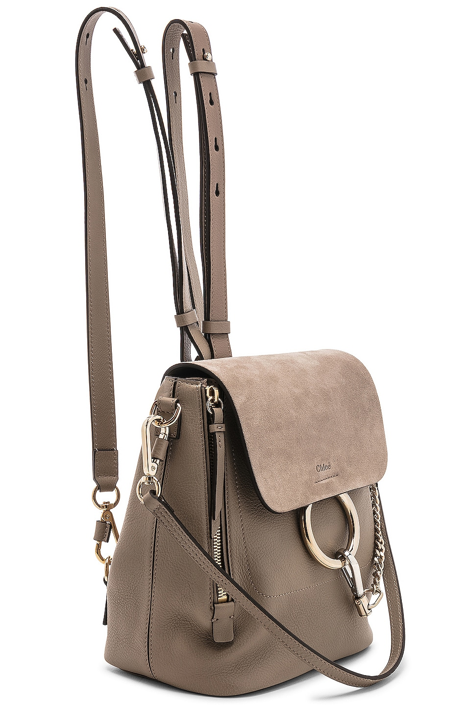Image 4 of Chloe Small Faye Backpack Suede & Calfskin in Motty Grey