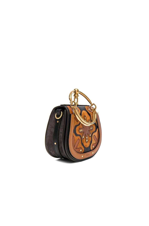 Image 3 of Chloe Small Nile Suede & Calfskin All Over Flower Bracelet Bag in Black