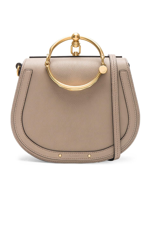Image 1 of Chloe Medium Nile Suede & Calfskin Bracelet Bag in Motty Grey