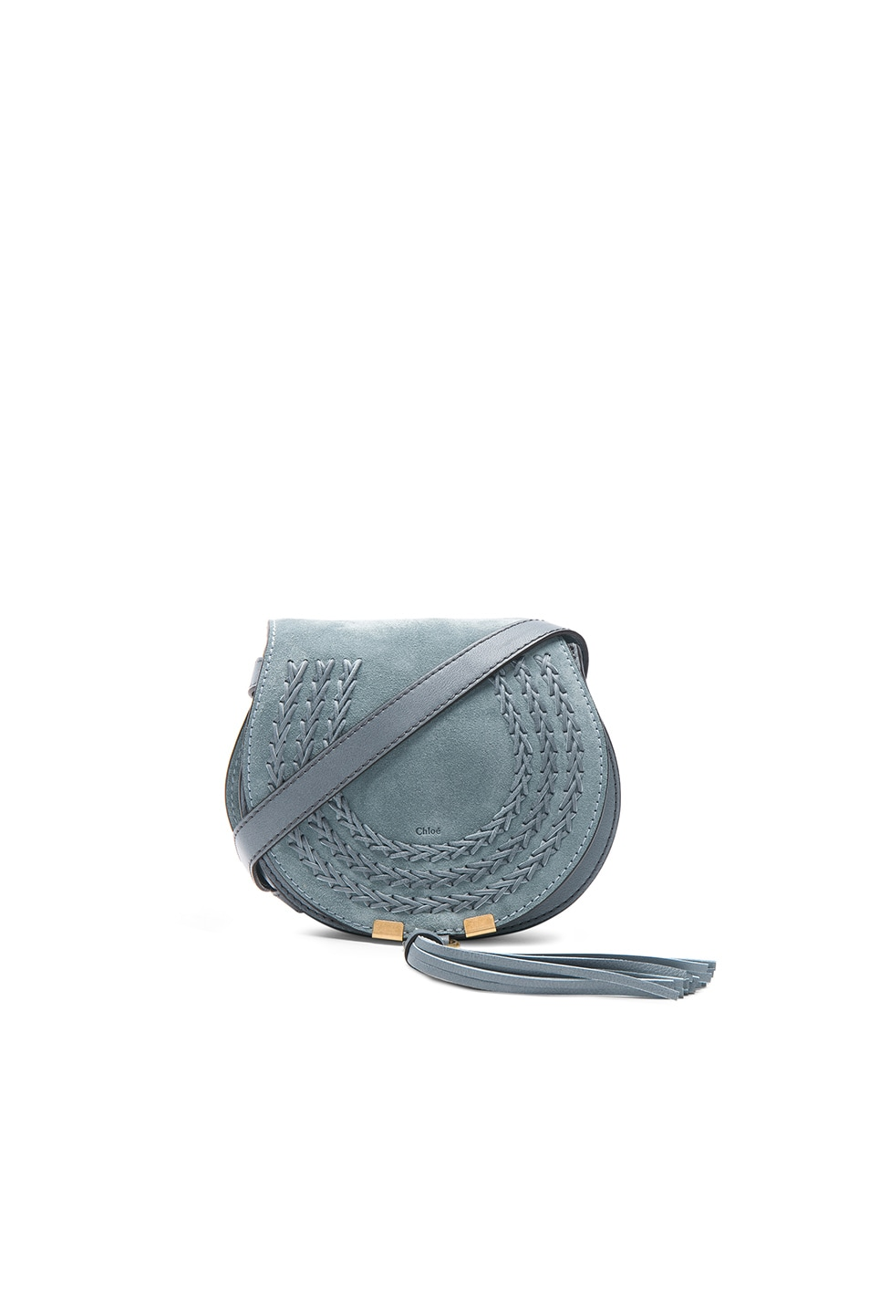 Image 1 of Chloe Small Marcie Suede Saddle Bag in Cloudy Blue
