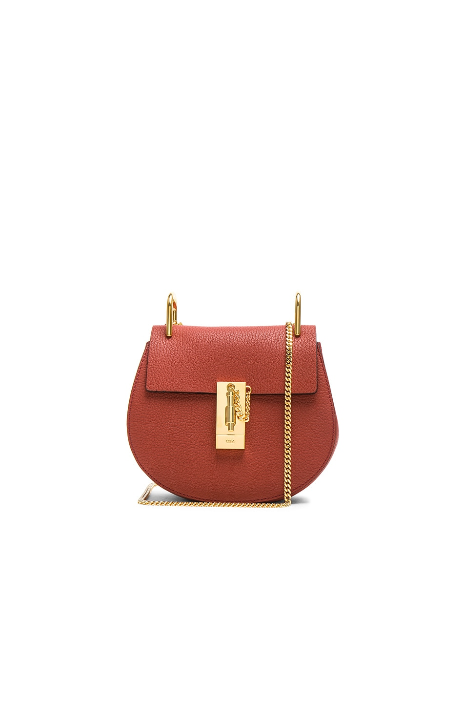 9721fe2e8e Image 1 of Chloe Mini Drew Leather Shoulder Bag in Terracotta Red