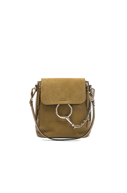 Image 1 of Chloe Small Faye Suede   Calfskin Backpack in Dark Khaki f251b12131bd3