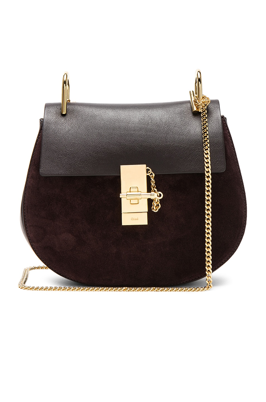 Image 1 of Chloe Small Drew Suede & Calfskin Shoulder Bag in Carbon Brown