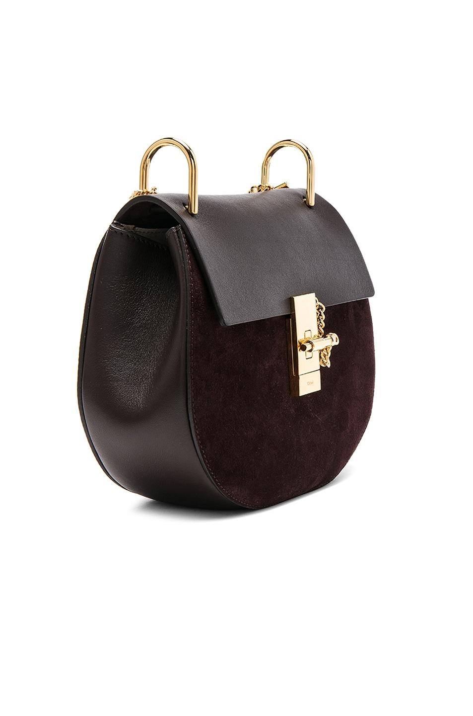 Image 4 of Chloe Small Drew Suede & Calfskin Shoulder Bag in Carbon Brown