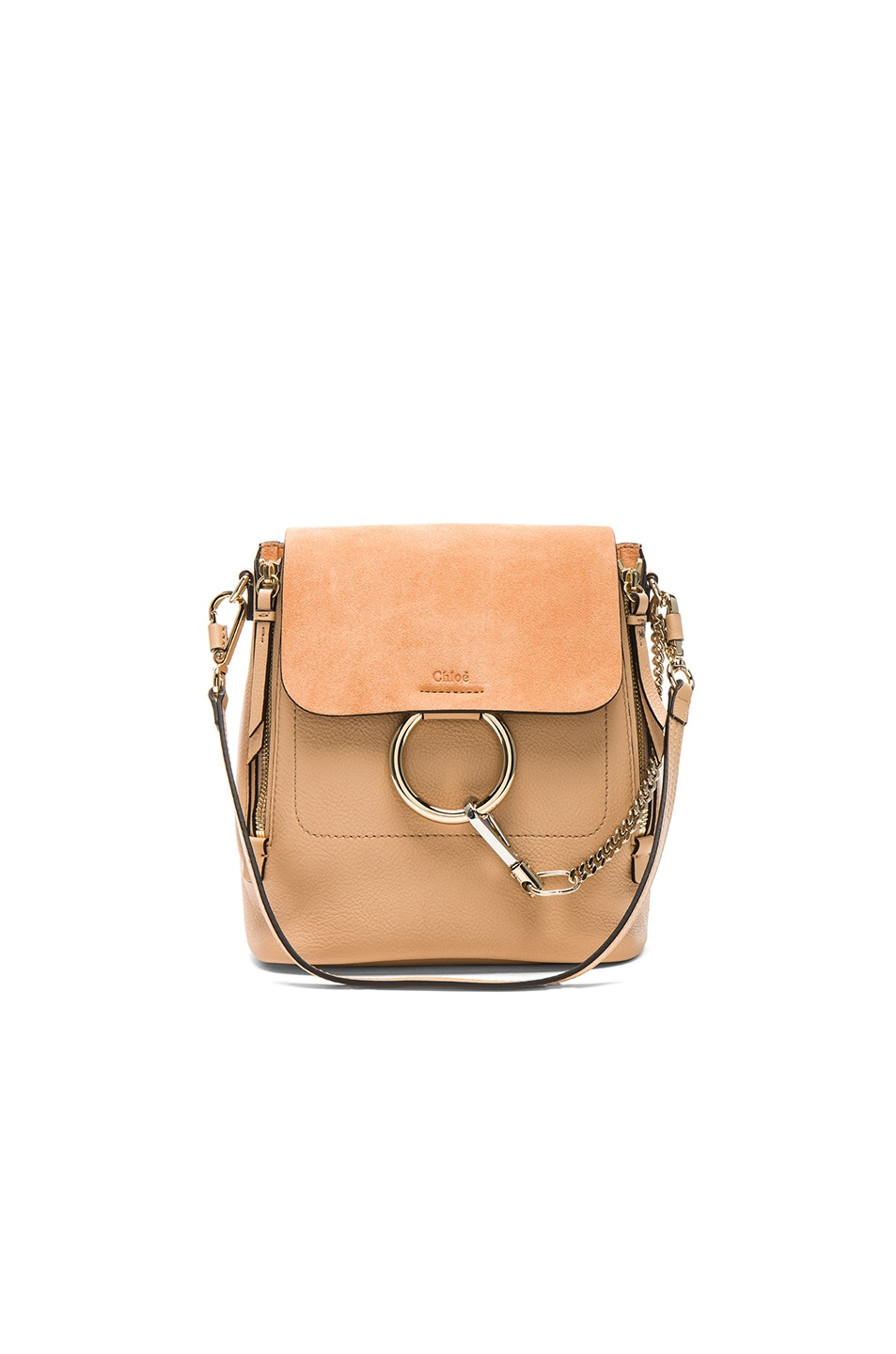 a18ce0dfe3372 Image 1 of Chloe Small Faye Suede & Calfskin Backpack in Blush Nude
