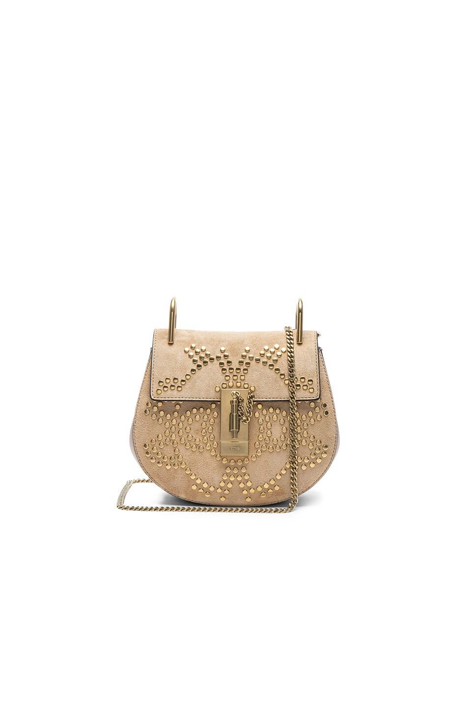 8c070626cfedd Image 1 of Chloe Mini Drew Constellation Studded Suede Shoulder Bag in  Blush Nude