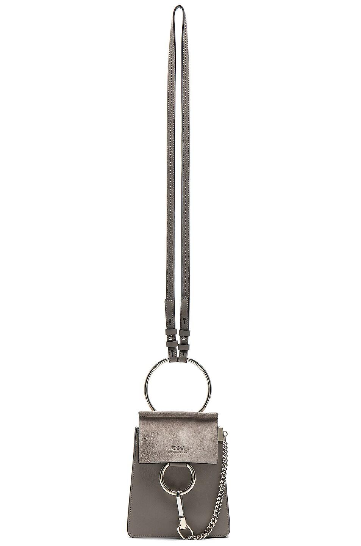 Image 1 of Chloe Small Faye Suede & Calfskin Bracelet Bag in Motty Grey