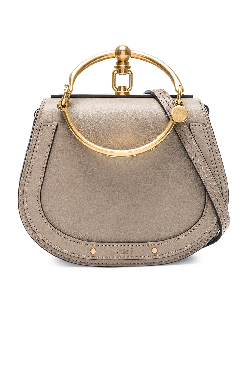 Image 1 of Chloe Small Nile Bracelet Bag Calfskin & Suede in Motty Grey