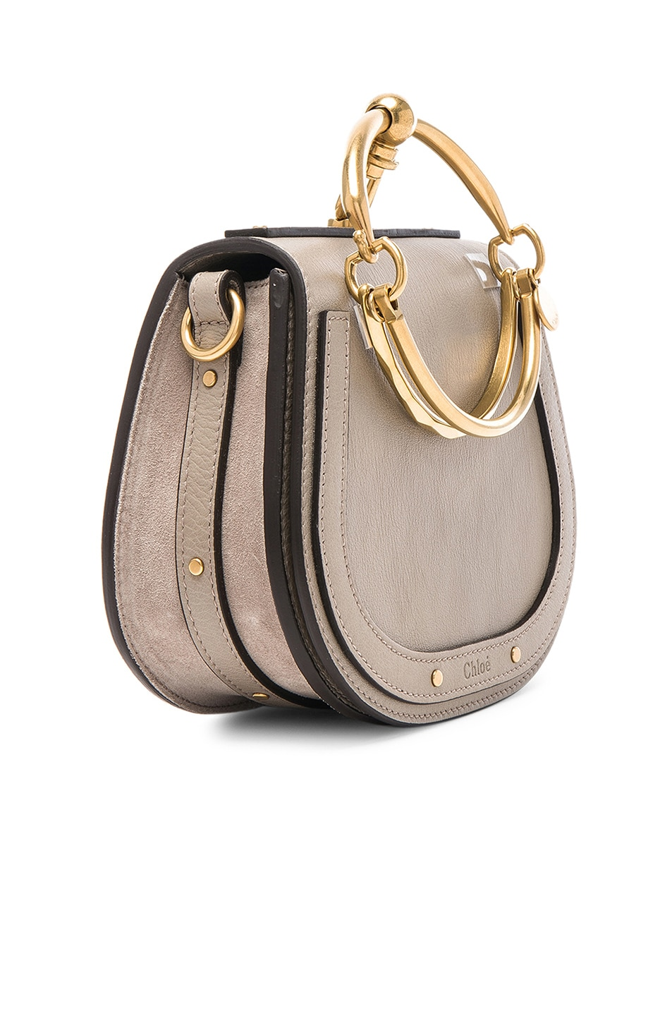 Image 4 of Chloe Small Nile Bracelet Bag Calfskin & Suede in Motty Grey