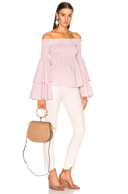 Image 2 of Chloe Medium Nile Calfskin & Suede Bracelet Bag in Biscotti Beige