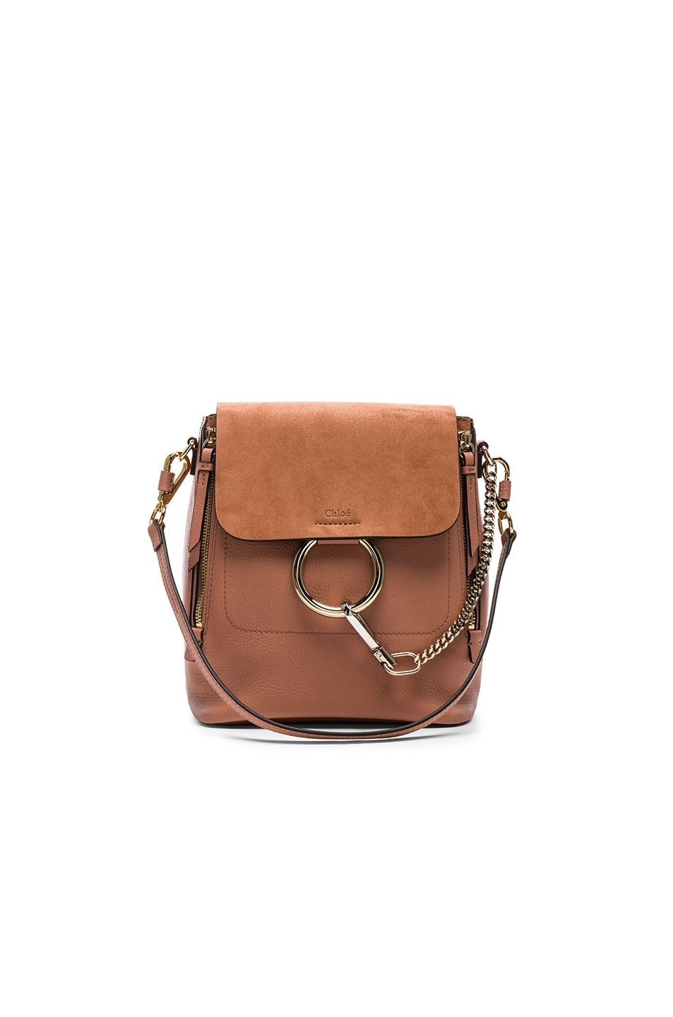 Image 1 of Chloe Small Faye Calfskin & Suede Backpack in Nougat