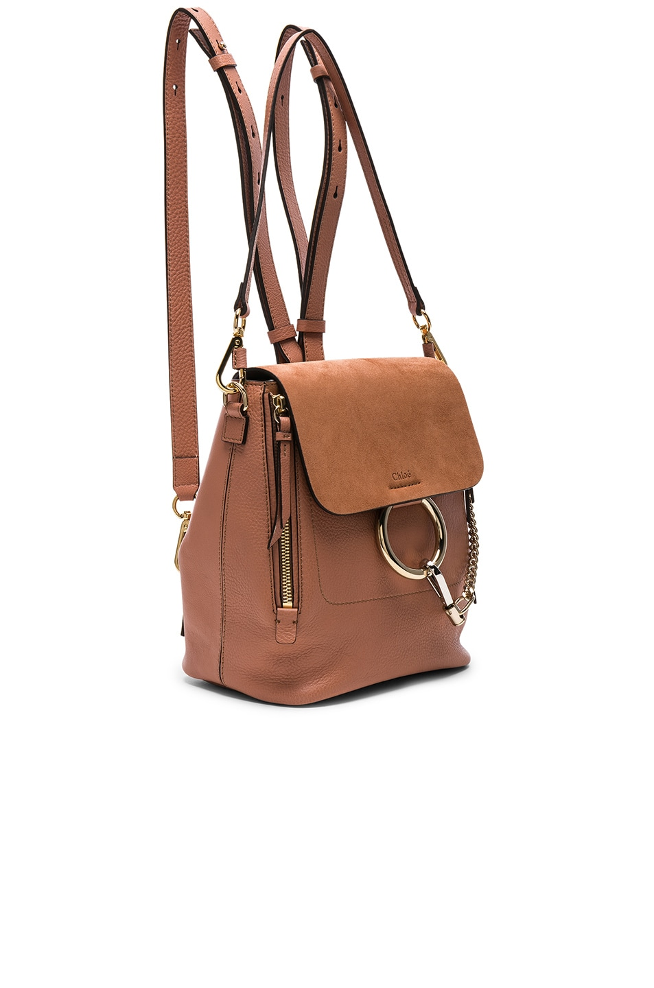 Image 3 of Chloe Small Faye Calfskin & Suede Backpack in Nougat