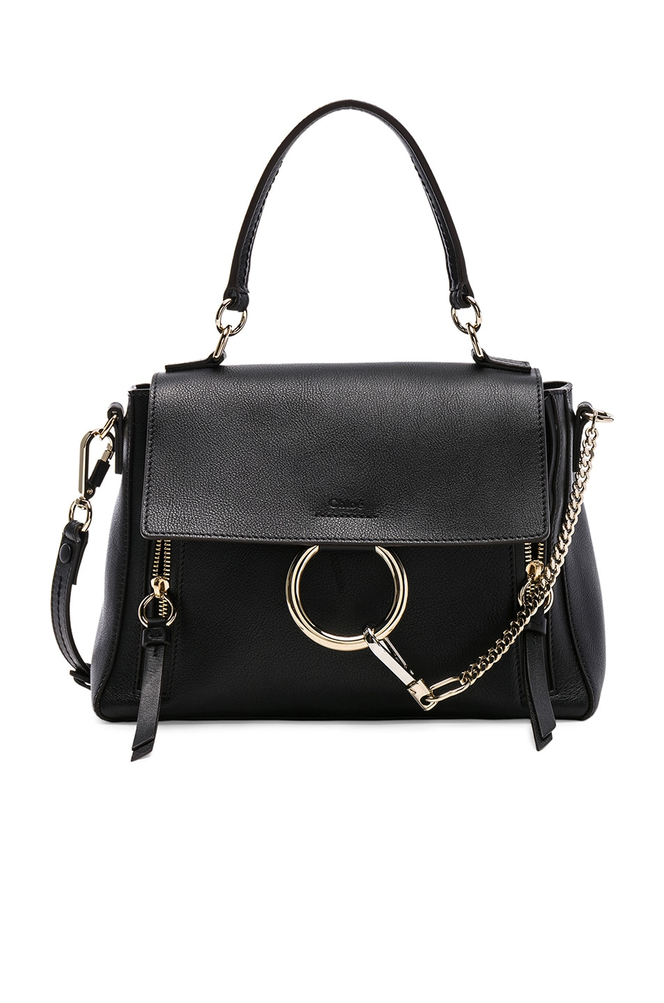 Image 1 of Chloe Small Faye Calfskin & Suede Day Bag in Black