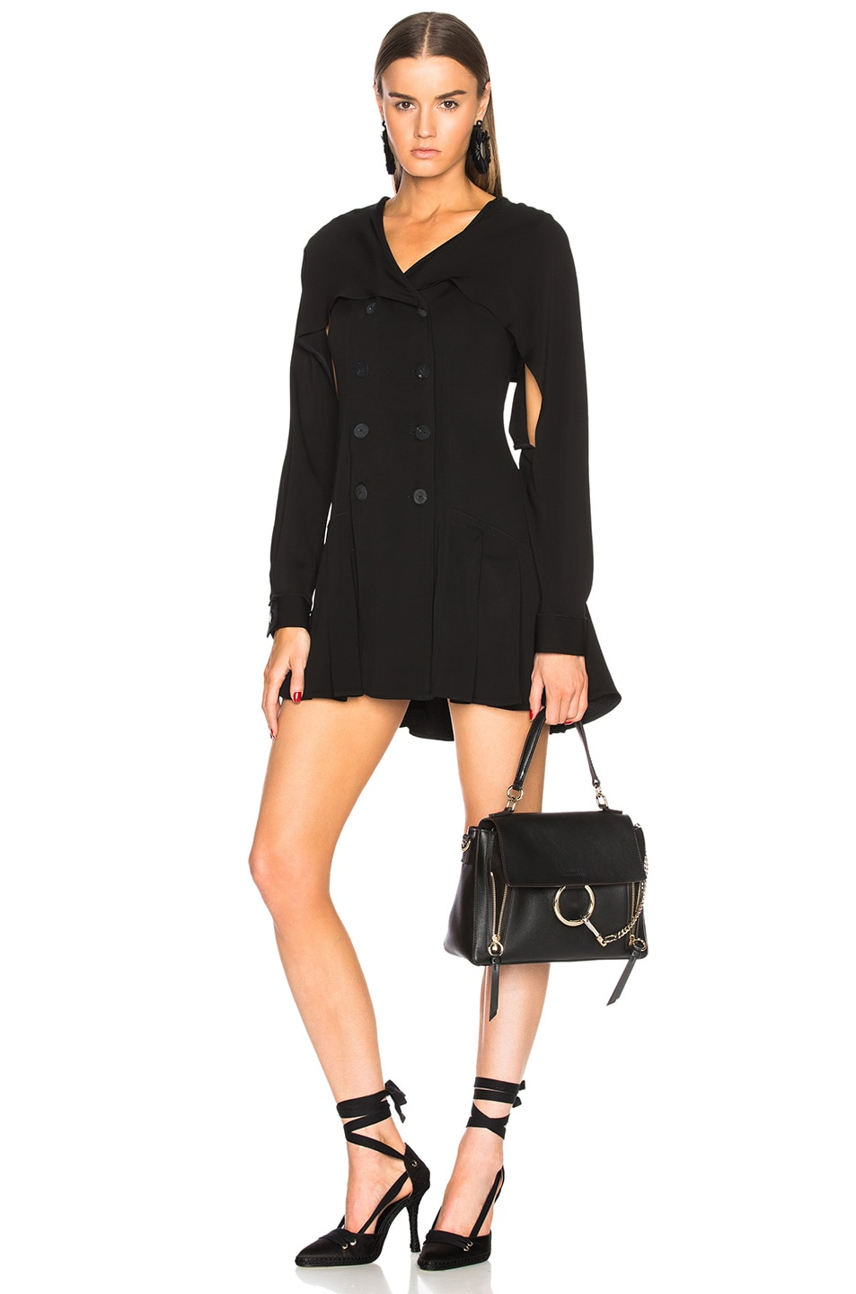 Image 2 of Chloe Small Faye Calfskin & Suede Day Bag in Black