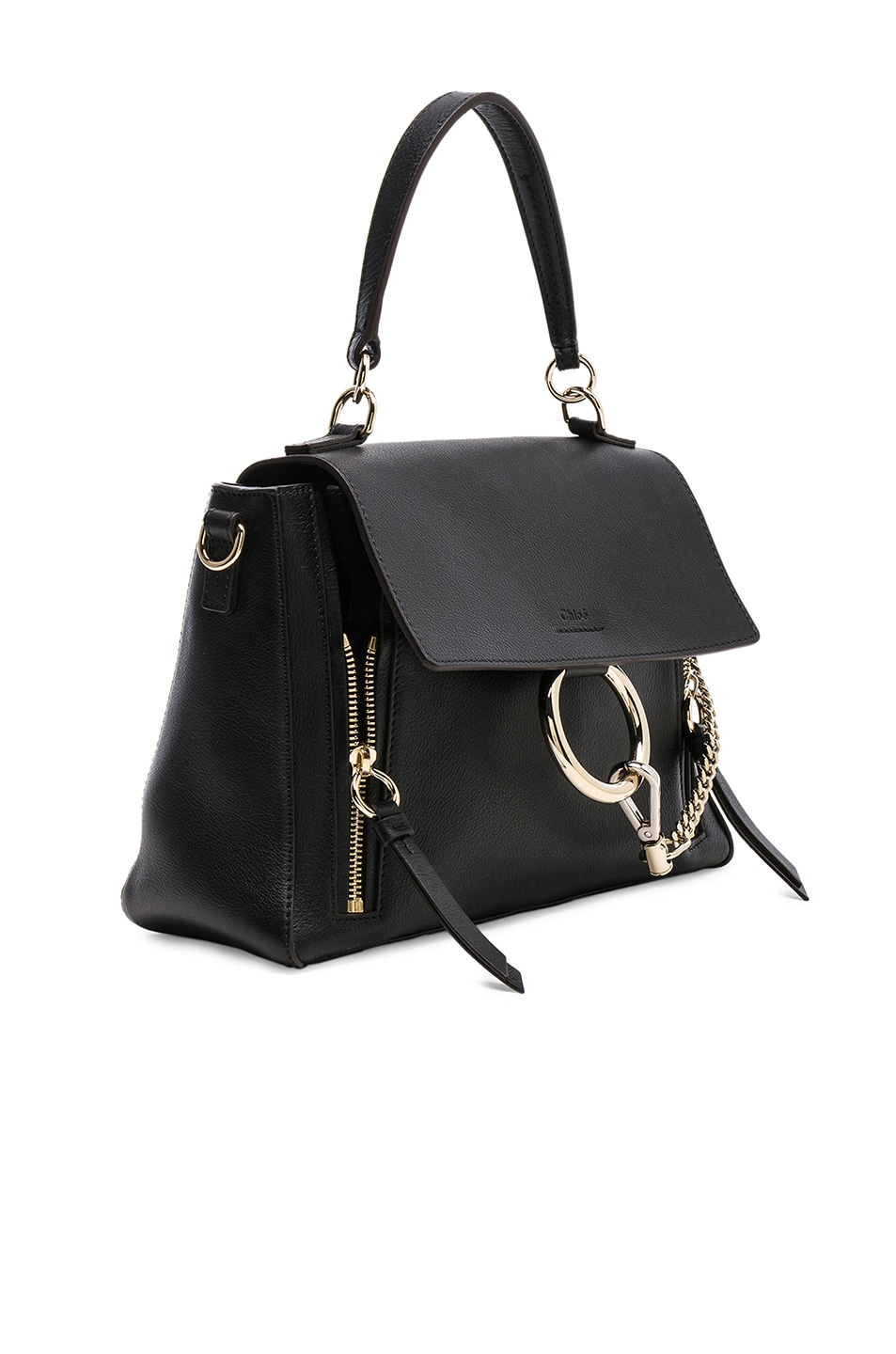 Image 4 of Chloe Small Faye Calfskin & Suede Day Bag in Black