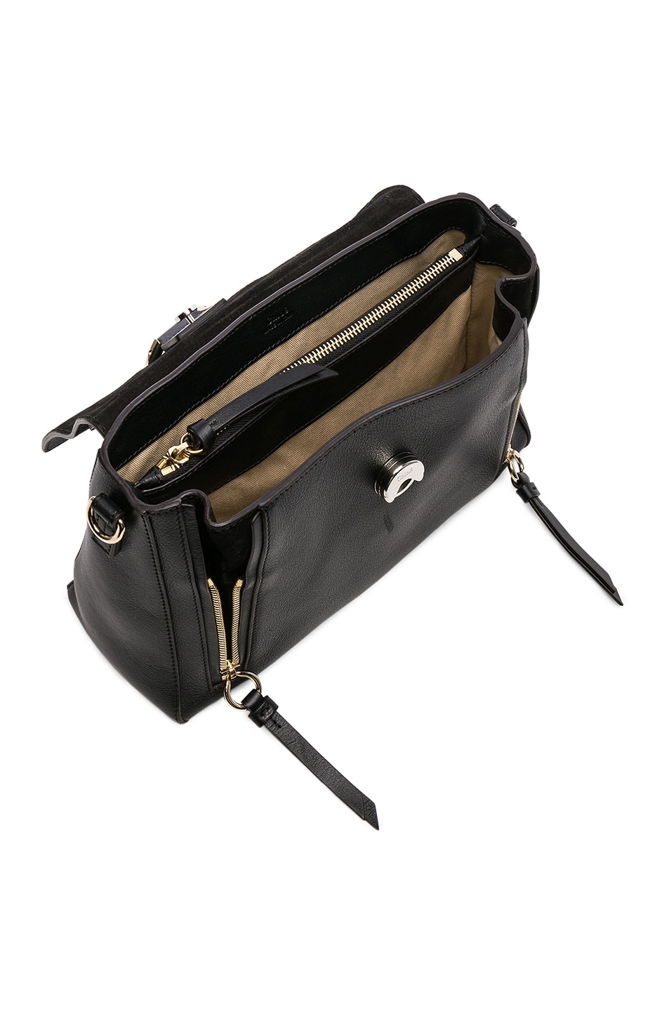 Image 5 of Chloe Small Faye Calfskin & Suede Day Bag in Black