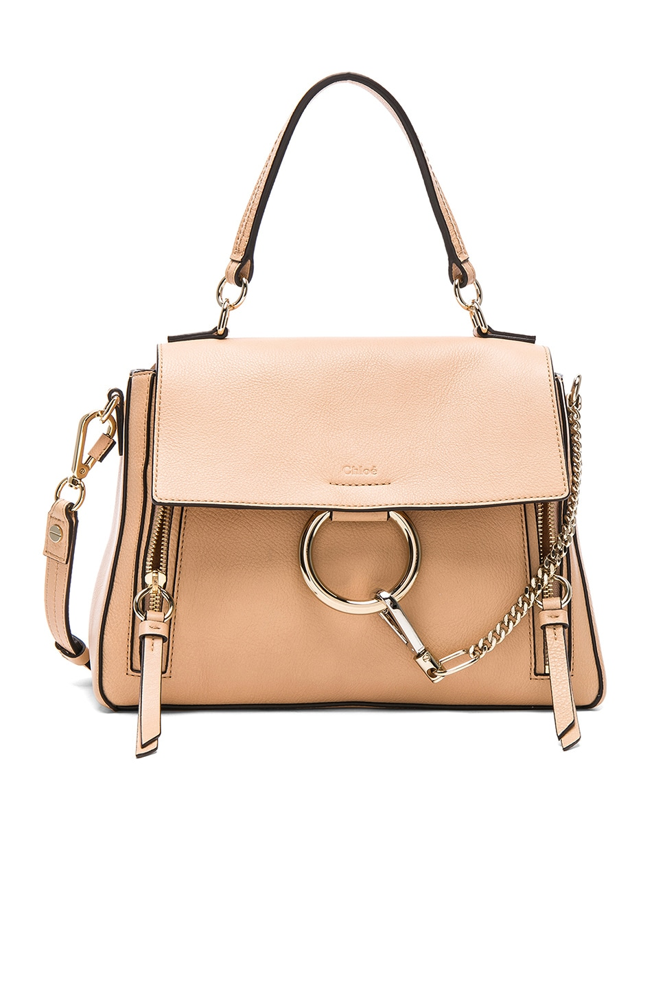 Image 1 of Chloe Small Faye Calfskin & Suede Day Bag in Blush Nude