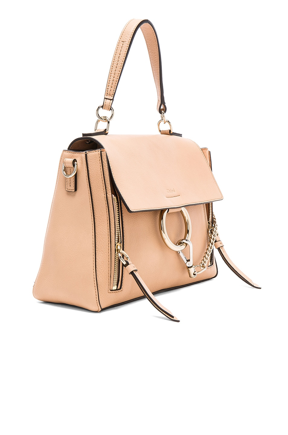 Image 4 of Chloe Small Faye Calfskin & Suede Day Bag in Blush Nude