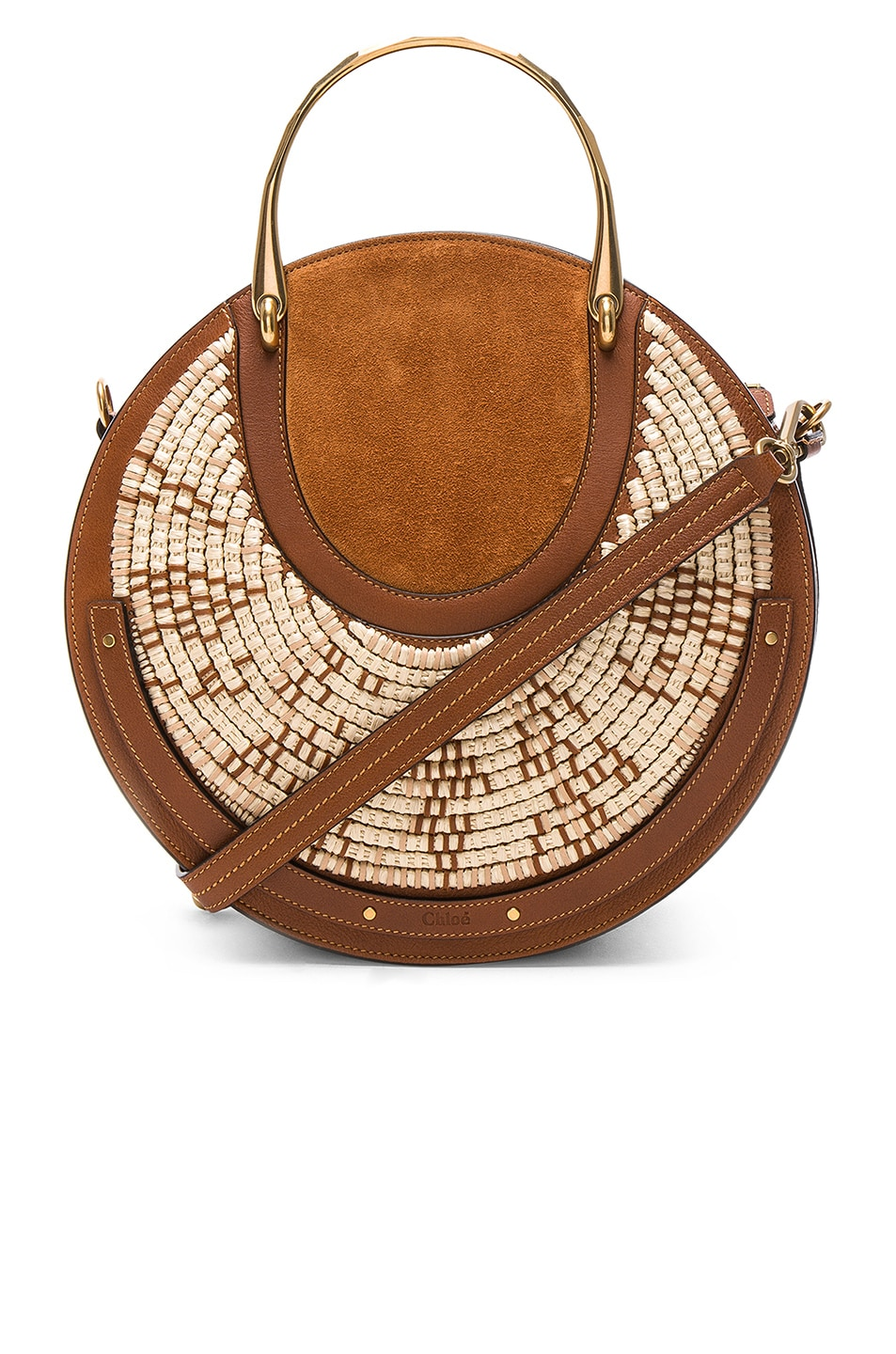 Image 1 of Chloe Medium Pixie Raffia with Calfskin & Suede Double Handle Bag in Caramel