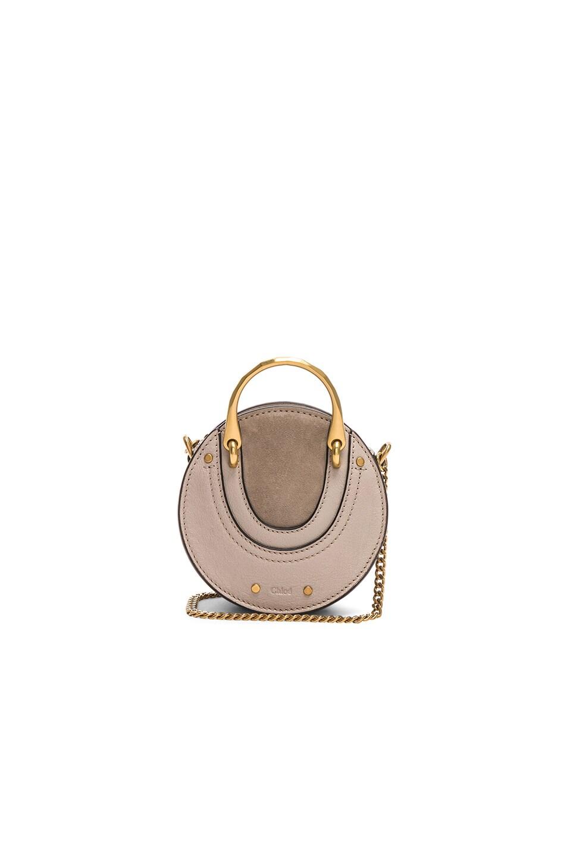 Image 1 of Chloe Mini Pixie Shiny Goatskin, Calfskin & Suede Double Handle Bag in Pastel Grey