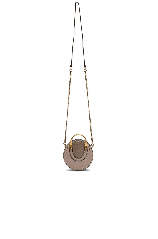 Image 5 of Chloe Mini Pixie Shiny Goatskin, Calfskin & Suede Double Handle Bag in Pastel Grey