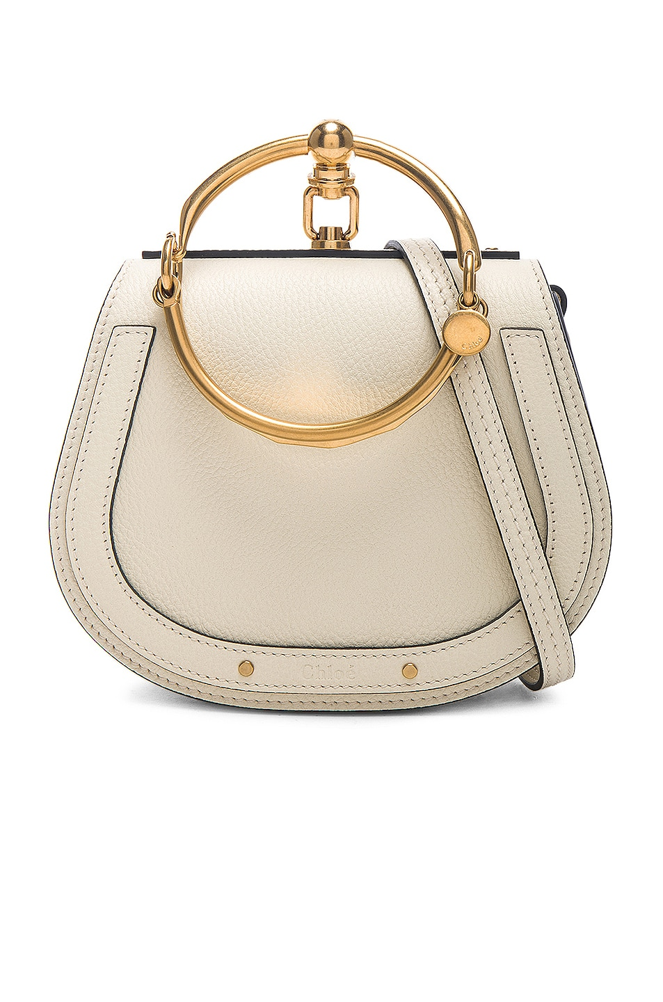 Image 1 of Chloe Small Nile Calfskin & Suede Bracelet Bag in Off White