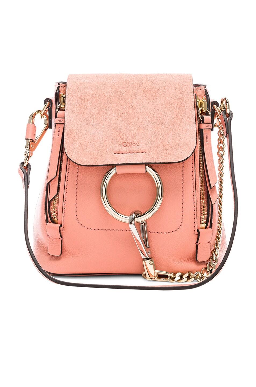 9b08888ceb Image 1 of Chloe Mini Faye Calfskin & Suede Backpack in Ideal Blush