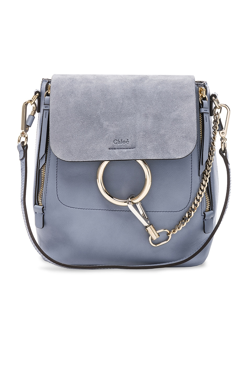 44622ac1b2bc Image 1 of Chloe Small Faye Backpack Calfskin & Suede in Washed Blue