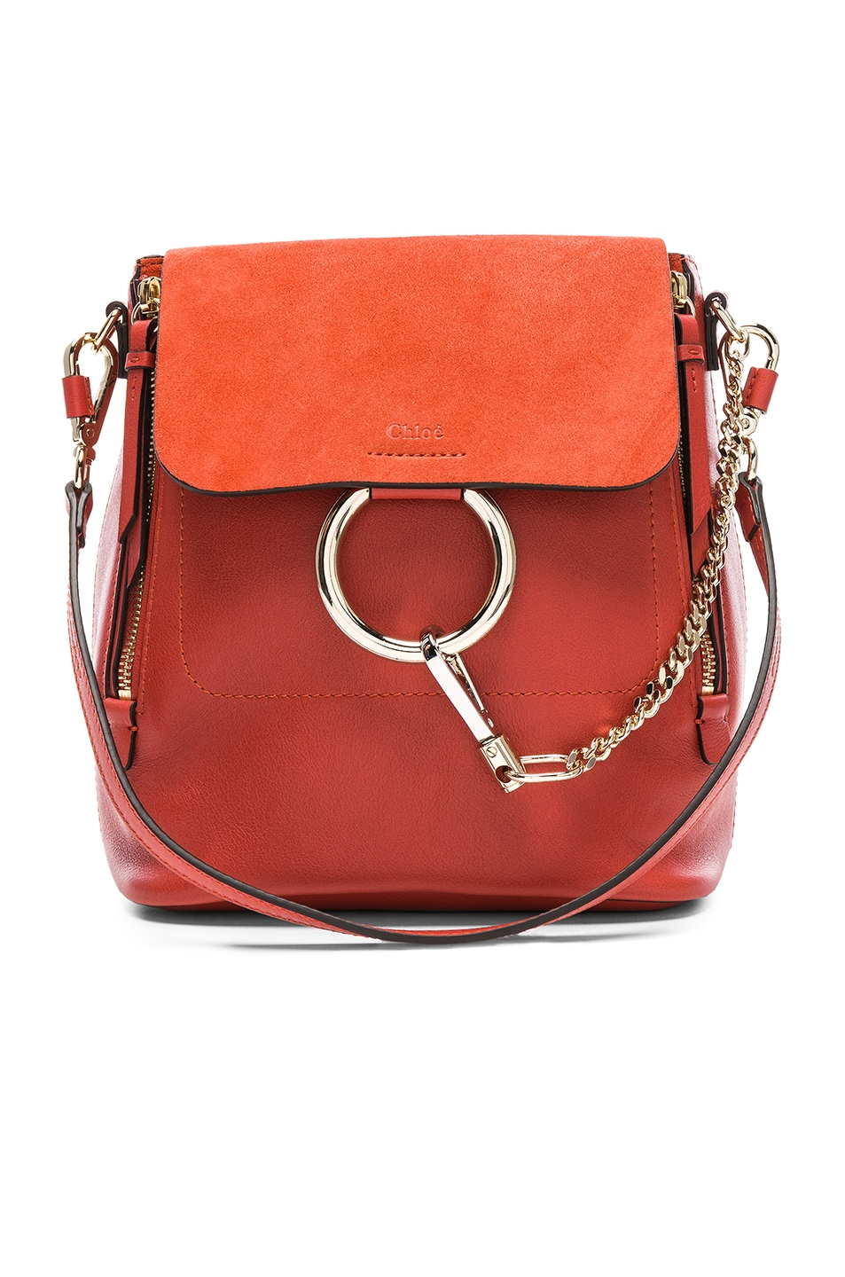 a93091e049 Image 1 of Chloe Small Faye Calfskin & Suede Backpack in Earthy Red