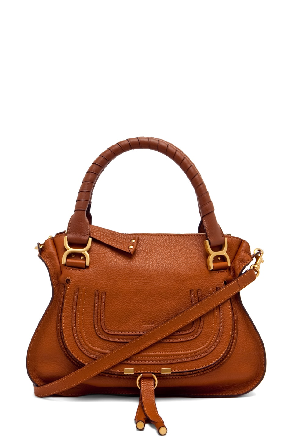 Image 1 of Chloe Small Marcie Shoulder Bag in Tan