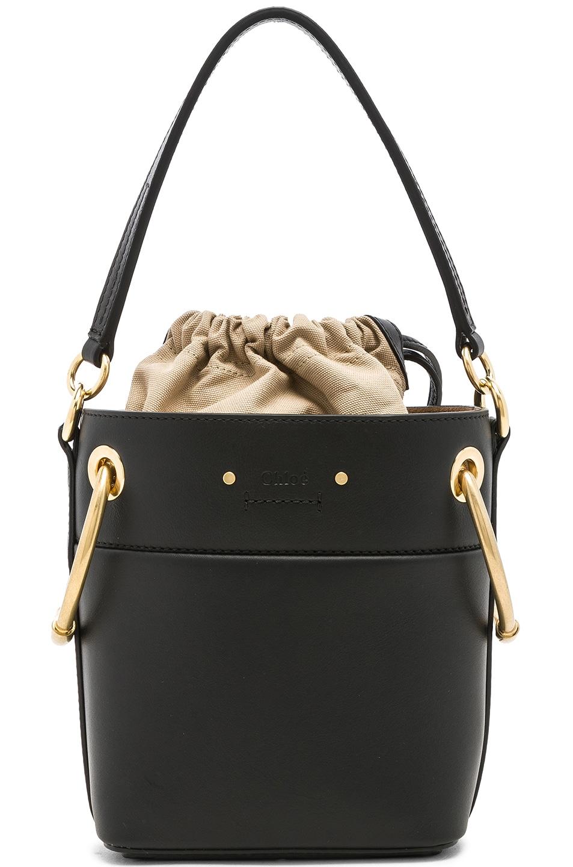 Image 3 of Chloe Mini Roy Calfskin Bucket Bag in Black