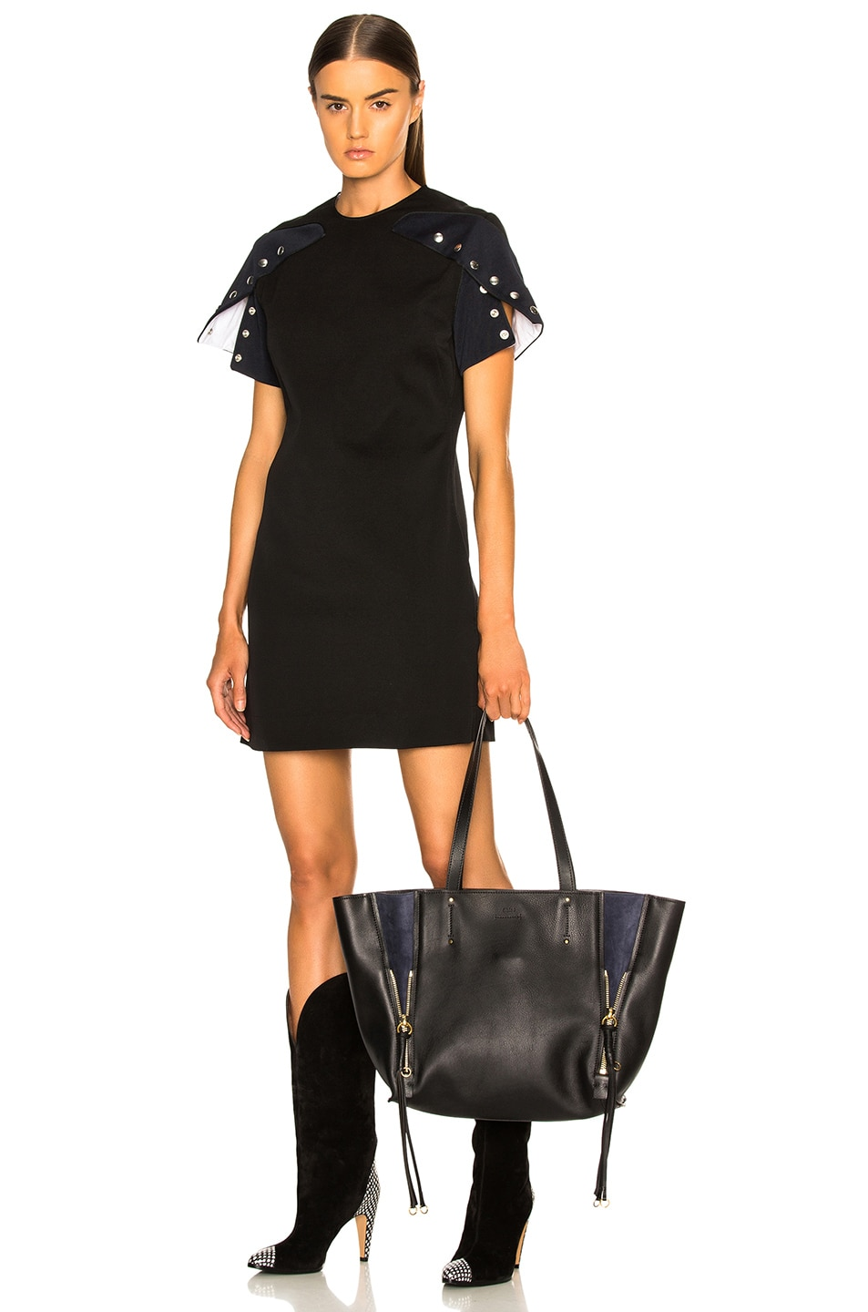 Image 2 of Chloe Medium Milo Suede & Calfskin Tote in Black