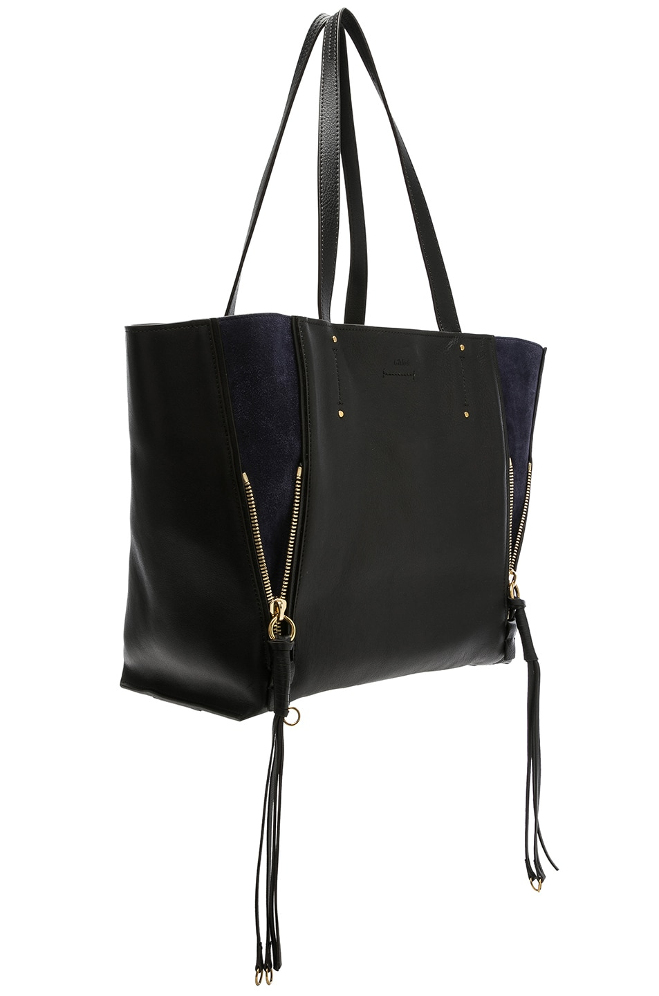 Image 4 of Chloe Medium Milo Suede & Calfskin Tote in Black