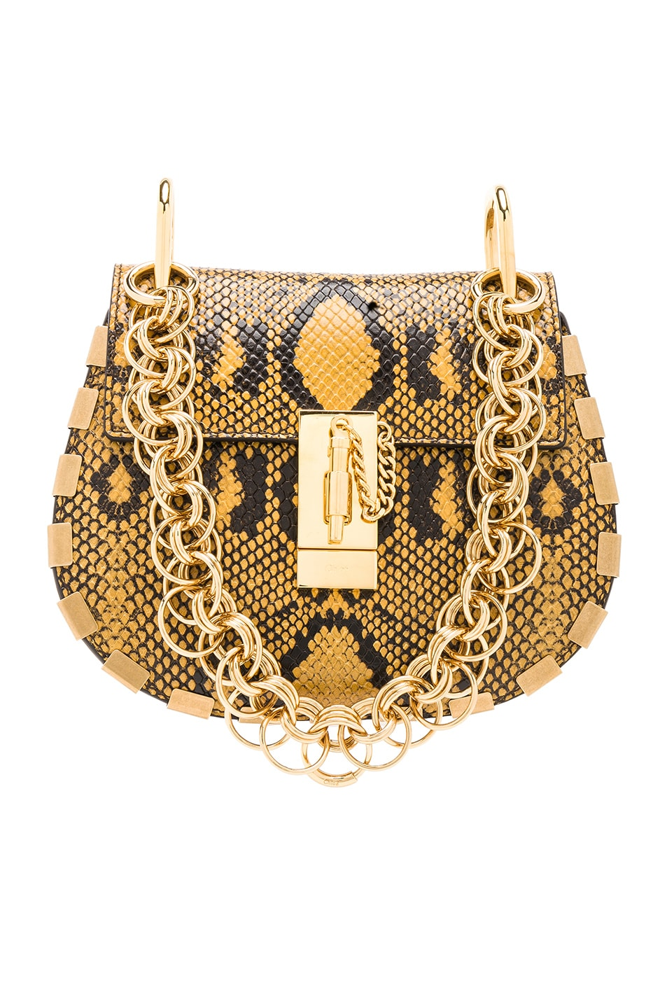 Image 1 of Chloe Mini Drew Bijou Python Print Leather Shoulder Bag in September Sun
