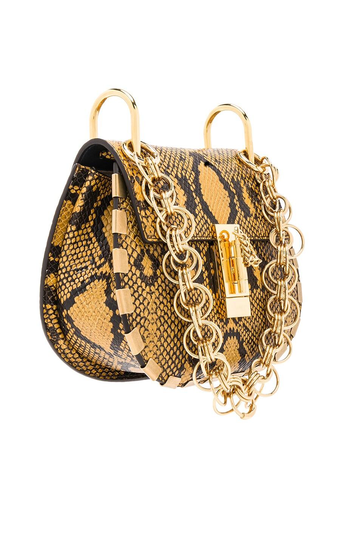 Image 4 of Chloe Mini Drew Bijou Python Print Leather Shoulder Bag in September Sun