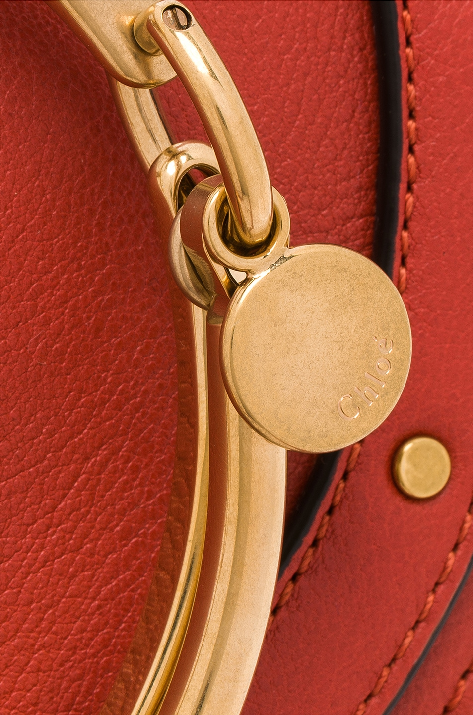 Image 8 of Chloe Small Nile Leather Minaudiere in Earthy Red